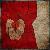 EPS10 vintage background with the girl in a red coat with the drawn heart in palms. — Stock vektor