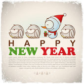 New Year geeting card with snowman and frogs. Vector illustration — Stock Vector