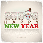 New Year greeting card with snowman and hamster. Vector illustration — Vector de stock