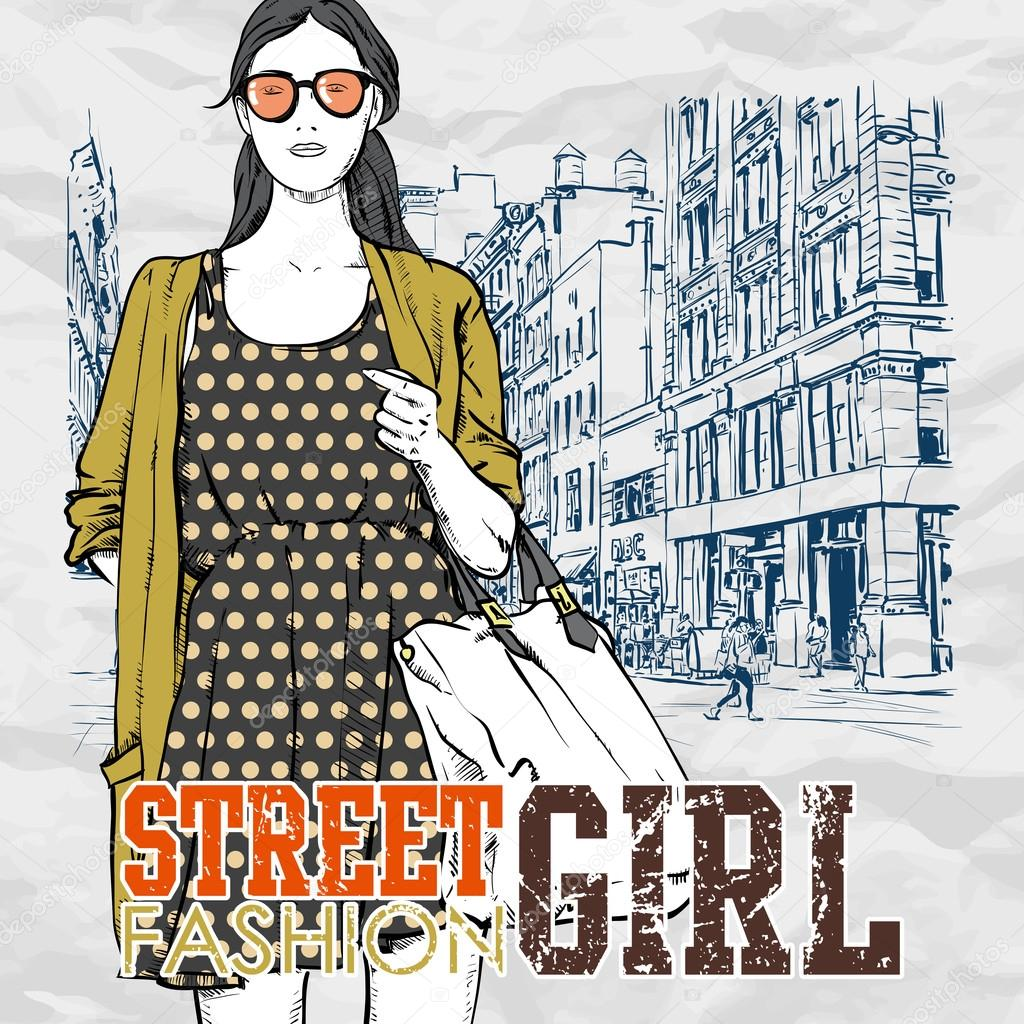 Cute Fashion Girl On A Street Background Hand Drawn