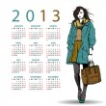 2013. Calendar with fashion girl. — Stock Vector