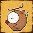 Animal grunge card with funny cartoon deer. — Vettoriali Stock