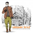 Stylish dude on street-cafe background. Vector illustration. — Stock Vector #22508831