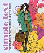 ファッションの女の子の花のベクトル カード. — ストックベクタ