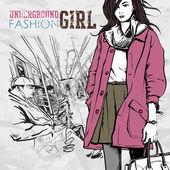 電車の中でかなりのファッションの女の子。ベクトル イラスト — ストックベクタ