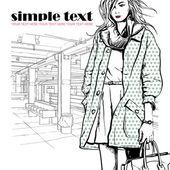 Sexy fashion meisje op een grunge achtergrond. vector illustrator — Stok Vektör