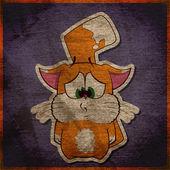 Animal grunge card with funny cartoon cat. — Stock Vector
