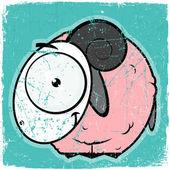 Carte animaux grunge avec moutons drôle de bande dessinée. — Vecteur