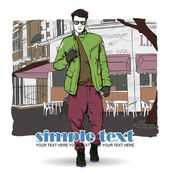 Elegante giovane ragazzo su uno sfondo di strada-café. illustrazione vettoriale. — Vettoriale Stock
