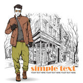ストリート カフェ背景にスタイリッシュな男。ベクトル イラスト. — ストックベクタ