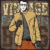 Stylish dude on a grunge background. Vector illustration. — Cтоковый вектор