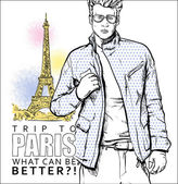 Stylish guy on a eiffel tower background. Vector illustration — Stock Vector