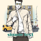 Bir sokak arka planda şık genç adam. vektör çizim. — Stok Vektör