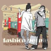 Vektör illustration iki moda kız metroya istasyonunda. metin için yer. — Stok Vektör