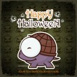 Halloween greeting card with cartoon turtle. Vector illustration. — Grafika wektorowa