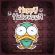 Halloween greeting card with cartoon duck. Vector illustration. - Stock Vector