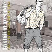 Stylish dude at subway station. Vector illustration — Stock Vector