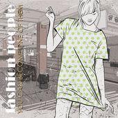 прекрасный молодая девушка в стиле эскиз на станции метро. векторные иллюстрации — Cтоковый вектор