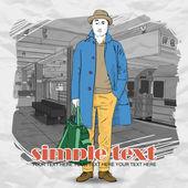 Stylowe koleś na stacji metra. ilustracja wektorowa — Wektor stockowy