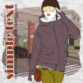 地下鉄駅のスケッチ スタイルで素敵な若い女の子。ベクトル イラスト — ストックベクタ