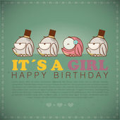 Funny happy birthday greeting card with cute cartoon frogs. — Vettoriale Stock
