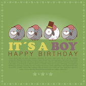 Funny happy birthday greeting card with cute cartoon sheep. — Stock Vector