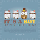 Funny happy birthday greeting card with cute cartoon hamsters — Stock Vector