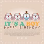 Funny happy birthday greeting card with cute cartoon rabbits. — Stock Vector
