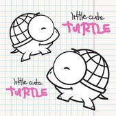 Vektor-karte wit süße schildkröte zeichentrickfigur — Stockvektor