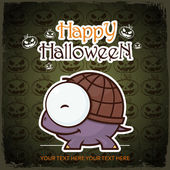 Halloween greeting card with cartoon turtle. Vector illustration. — Stock Vector