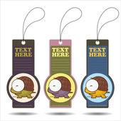 Set of tags with funny cartoon turtle. Vector. — Stock Vector