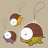 Set of tags with funny cartoon turtle. Vector. — Vecteur
