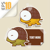 Set of message card with cartoon turtle and paper turtle fixed with sticky tape. Vector illustration. — Stock Vector