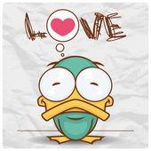 Sevimli çizgi duck karakteri ile vektör kartı. — Stok Vektör