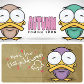 Autumnal vector card with funny cartoon ducks and text. — Stock Vector