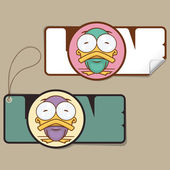 Set of tags and stickers with funny cartoon duck. Vector. — Stock Vector