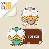 Set of message card with cartoon duck and paper duck fixed with sticky tape. Vector illustration. — Stock Vector