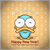 Christmas greeting card with cartoon duck. Vector illustration — Stock Vector