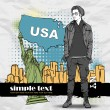 Vector illustration of a young man with bag in sketch-style on a usa-background. Place for your text — Stock Vector