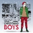Stylish christmas boy on a street background. Vector illustration — Imagen vectorial