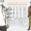 Vector illustration of two stylish guys on a street- background. — Stock Vector