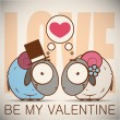 Valentines day greeting card with cartoon sheep characters. - Imagens vectoriais em stock