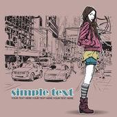Söt flicka på gatan bakgrund. vektor illustration — Stockvektor