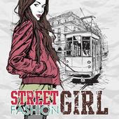 Eps10 векторные иллюстрации красивая девушка моды и старый трамвай. винтажный стиль. — Cтоковый вектор