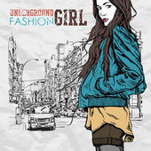 Sweet fashion girl on a street background. Vector illustration — Stock Vector