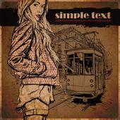 Eps10 vektor illustration av en söt flicka och gammal spårvagn. vintage stil. — Stockvektor