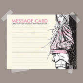 Message card with fashion girl fixed with sticky tape. Vector illustration. — Stock Vector