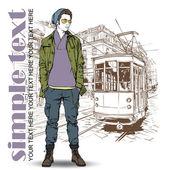 Illustration vectorielle d'un gars élégant et vieux tram. — Vecteur