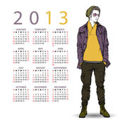 2013. Calendar with stylish dude. — Stock Vector