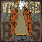 Elegante joven sobre un fondo grunge. ilustración vectorial. — Vector de stock